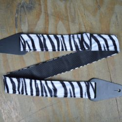 Black & White Zebra Faux Fur Guitar Strap