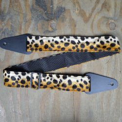 Black & Brown Leopard Faux Fur Guitar Strap