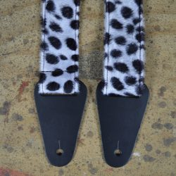 Black & White Dalmation Faux Fur Guitar Strap