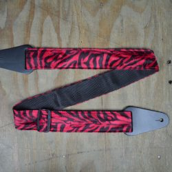 Red & Black Zebra Faux Fur Guitar Strap
