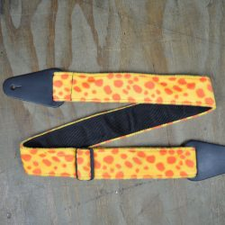 Yellow and Orange Dalmation Faux Fur Guitar Strap