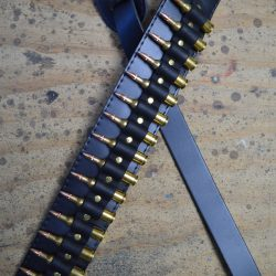 Brass Shells on Black Leather Guitar Strap