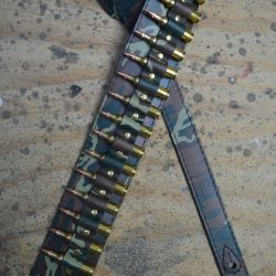 Brass Shells on Camo Leather Guitar Strap