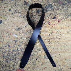 Black 2.5″ Leather Guitar Strap Extra Long