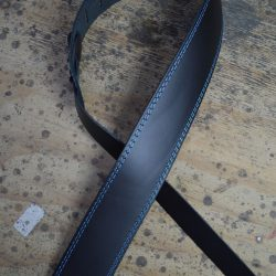 Blue Stitched Black 2.5″ Leather Guitar Strap