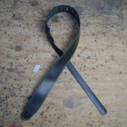 Green Stitched Black 2.5″ Leather Guitar Strap