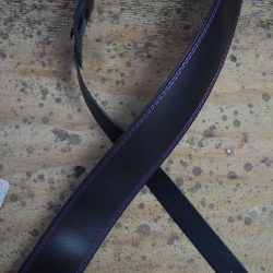 Purple Stitched Black 2.5″ Leather Guitar Strap