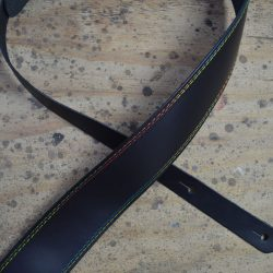 Rainbow Stitched Black 2.5″ Leather Guitar Strap