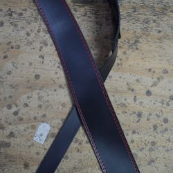 Red Stitched Black 2.5″ Leather Guitar Strap