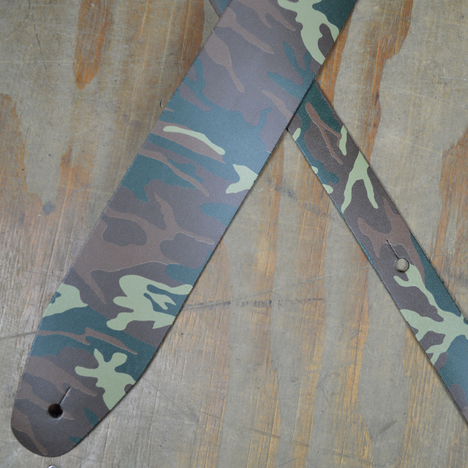 camo printed leather guitar strap colonial leather. Black Bedroom Furniture Sets. Home Design Ideas