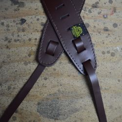 Brown Leather Banjo Cradle Strap With Lacing