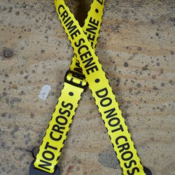 Do Not Cross Printed Webbing Guitar Strap