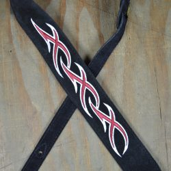 Red & White XXX Embroidered Black Suede Guitar Strap