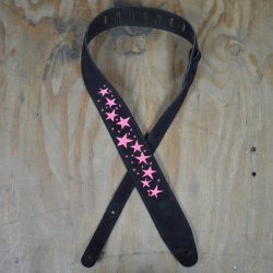 Pink Stars Embroidered Black Suede Guitar Strap