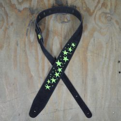 Green Stars Embroidered Black Suede Guitar Strap