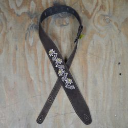 Flowers Embroidered Brown Suede Guitar Strap