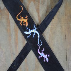 Lizards Embroidered Black Suede Guitar Strap
