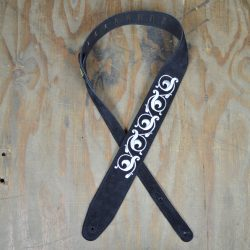 Scroll Design Embroidered Black Suede Guitar Strap