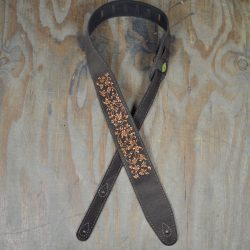 Leaves Embroidered Brown Suede Guitar Strap