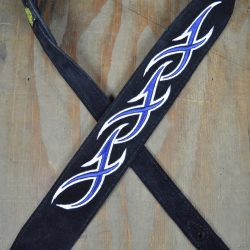 Blue & White XXX Embroidered Black Suede Guitar Strap