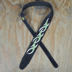 Green & White XXX Embroidered Black Suede Guitar Strap