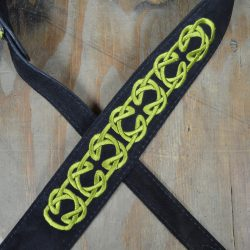 Green Celtic Knot Embroidered Black Suede Guitar Strap