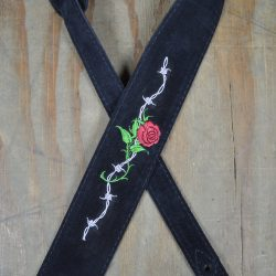 Rose & Barbed Wire Embroidered Black Suede Guitar Strap