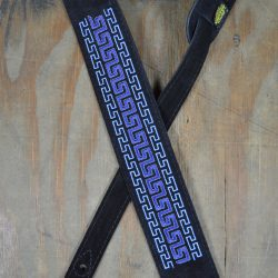 Blue Pattern Embroidered Black Suede Guitar Strap