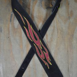Flames Embroidered Black Suede Guitar Strap