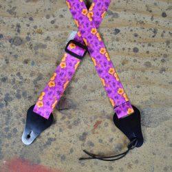 Hibiscus Purple Printed Webbing Ukulele Strap