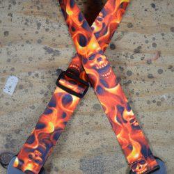Fire Skull Printed Webbing Guitar Strap