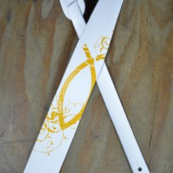 Gold Fish Printed Leather Guitar Strap
