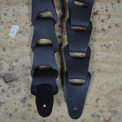 Black Link Leather Guitar Strap