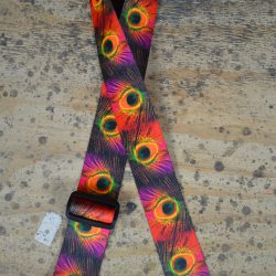 Peacock Feathers Printed Webbing Guitar Strap