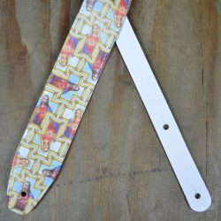 Printed Jesus and Mary Microfiber Leather Guitar Strap