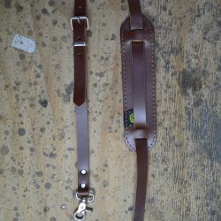 Vintage Style Brown Leather Banjo Strap with Hooks