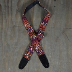 Orange Zigzag & Suede Guitar Strap