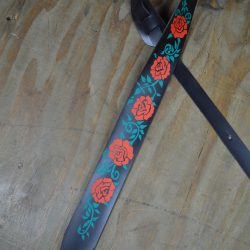 Rose Printed Leather Guitar Strap