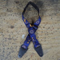 Moon & Stars Blue Rag Guitar Strap