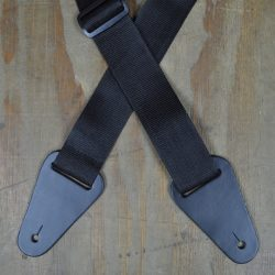 Black Webbing with Heavy Duty Leather Ends Guitar Strap