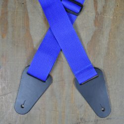 Blue Webbing with Heavy Duty Leather Ends Guitar Strap