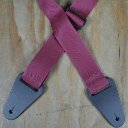 Burgundy Webbing with Heavy Duty Leather Ends Guitar Strap