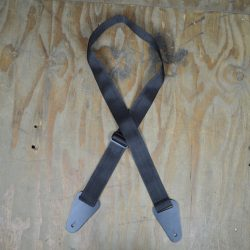 Extra Long Black Webbing with Heavy Duty Leather Ends Guitar Strap