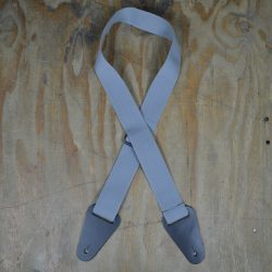 Grey Webbing with Heavy Duty Leather Ends Guitar Strap