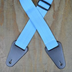 Light Blue Webbing with Heavy Duty Leather Ends Guitar Strap