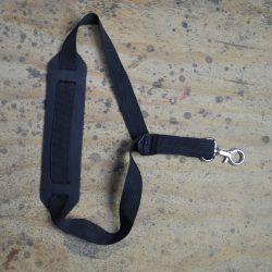 Black Webbing Saxophone Strap with Leather Pad