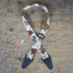 White Skull Printed Webbing Guitar Strap