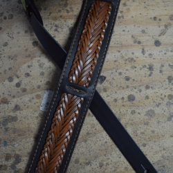 Black Soft Leather with Brown Plait Guitar Strap