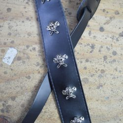 2.5″ Black Leather with Skull & Spanner Feature Guitar Strap