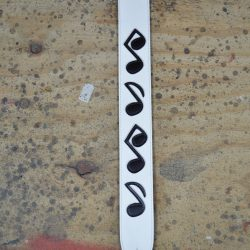 2.5″ White Leather with Black Notes Guitar Strap